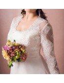 Modest Long Lace Sleeve Plus Size Wedding Dress Tulle Beach Weddings