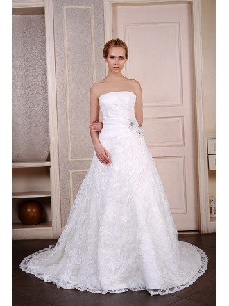 Ball-Gown Strapless Chaple Train Lace Wedding Dress With Beading