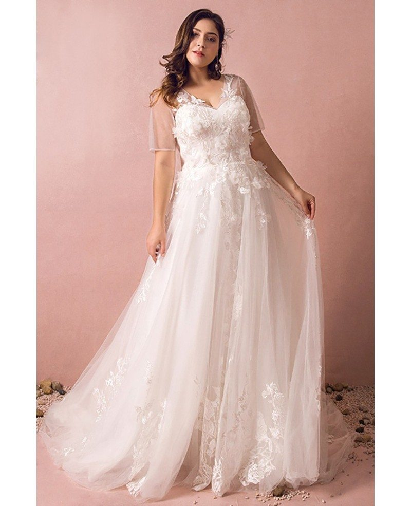 Dreamy Boho Plus Size Wedding Dress With Sleeves For Beach Wedding #MN8025  - GemGrace.com