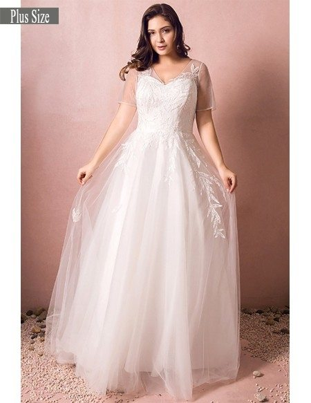 Simple Modest Plus Size Beach Wedding Dress Illusion Sleeves Long Tulle  Style #MN8026 - GemGrace.com