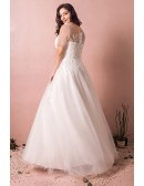 Simple Modest Plus Size Beach Wedding Dress Illusion Sleeves Long Tulle Style