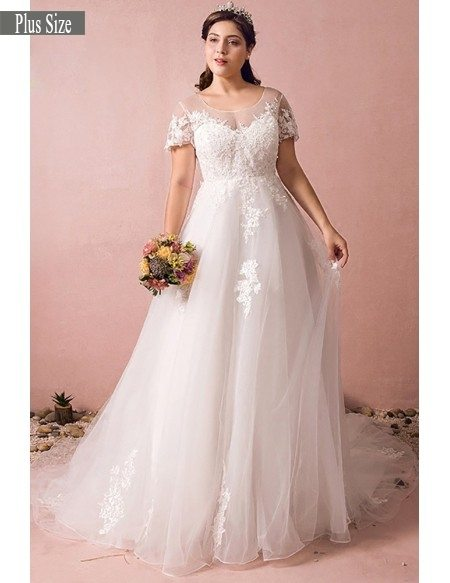 Boho Lace A Line Beach Wedding Dress Plus Size With Sleeves 2018 #MN8027 -  GemGrace.com