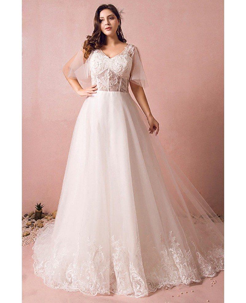 Flowy Plus Size A Line Lace Wedding Dress Tulle Corset With Long Train Mn8028 Gemgrace Com