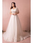 Flowy Plus Size A Line Lace Wedding Dress Tulle Corset With Long Train