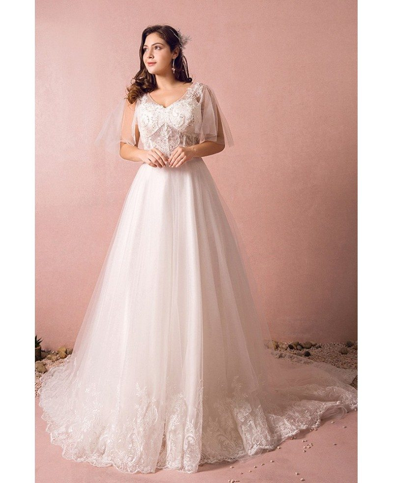 Flowy Plus Size A Line Lace Wedding Dress Tulle Corset With Long Train  #MN8028 - GemGrace.com