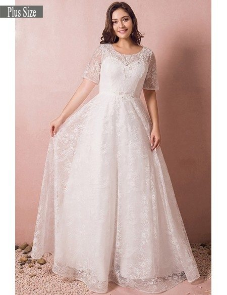 Short Sleeve Plus Size Wedding Dress