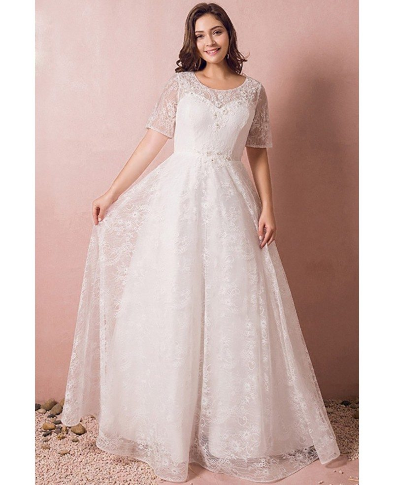 Modest Lace Short Sleeve Plus Size Wedding Dress With Beading For Cheap  Online #MN8047 - GemGrace.com