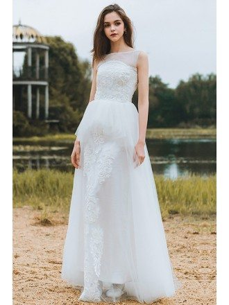 Country Chic Informal Boho Beach Wedding Dress Sleeveless For Destination