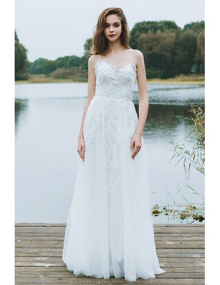 Boho A Line Simple Beach Wedding Dress Spaghetti Straps For Summer Weddings