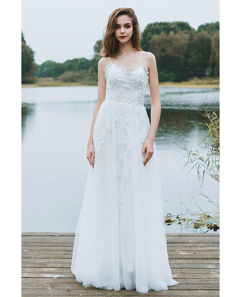 Simple Wedding Dress Europe: Boho A Line Simple Beach Wedding Dress Spaghetti Straps