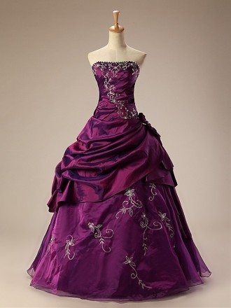 Grape Ballgown Embroidered Strapless Long Gown with Ruffles