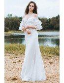 Classy Off The Shoulder Boho Beach Wedding Dress Mermaid Long Lace Dress