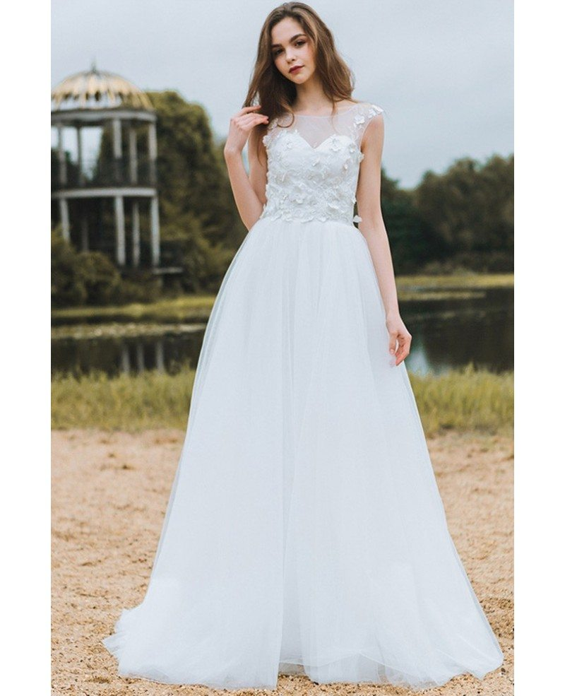 Modest Lace A Line Beach Wedding Dress Cheap Boho Cap Sleeves Long Flowing Tulle Df6408 Gemgrace Com