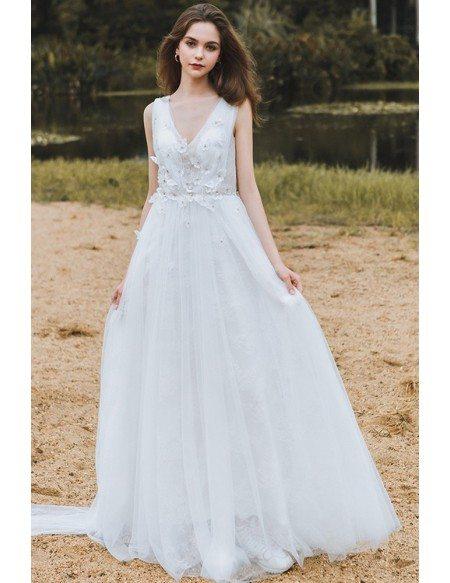 Flowy A Line Lace Beach Wedding Dress Boho Low Back 2018 Destination Weddings