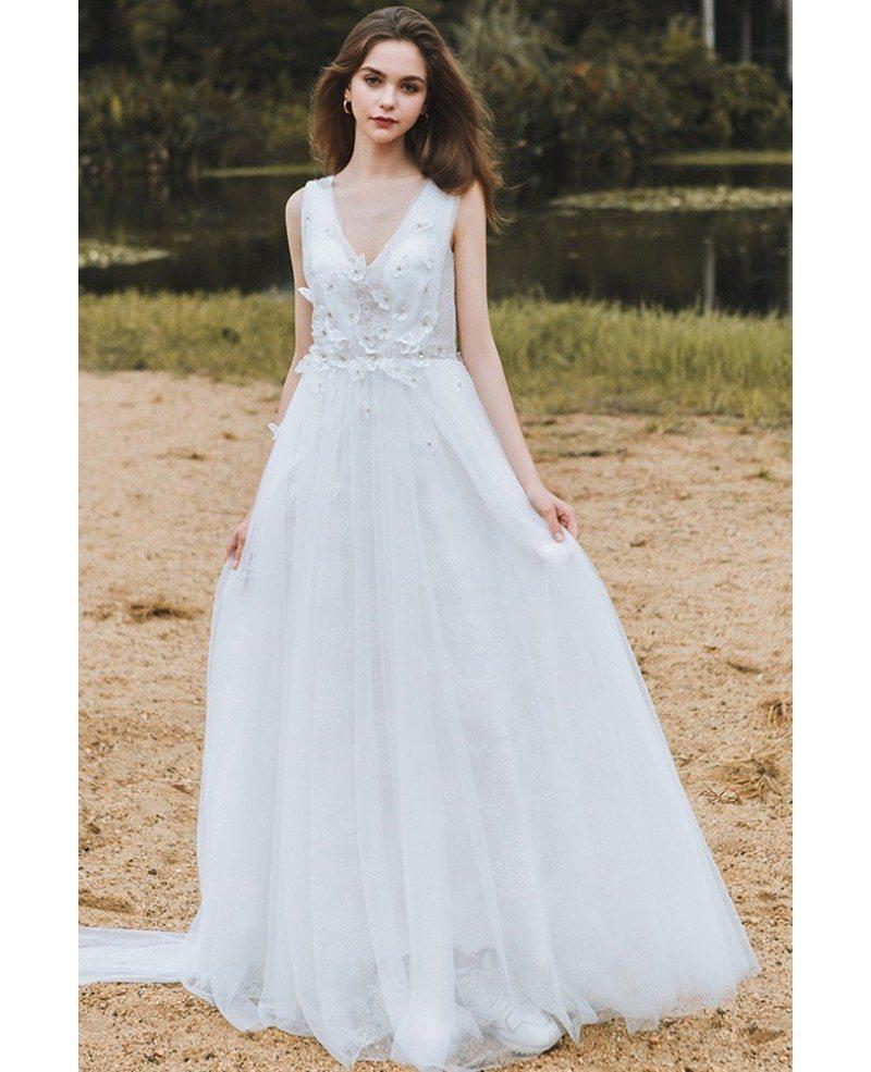 Bridal Gowns For A Beach Wedding: Flowy A Line Lace Beach Wedding Dress Boho Low Back 2018