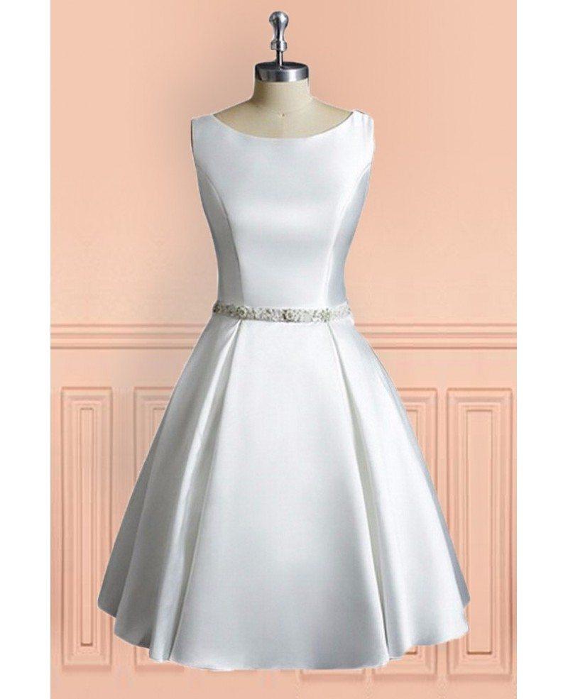 Line Satin Short Wedding Dress