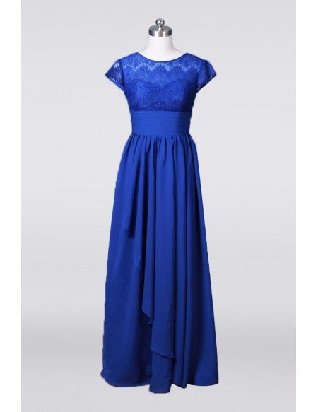 A Line Chiffon Lace Mother Of The Bride Dress Long In Royal Blue 2018
