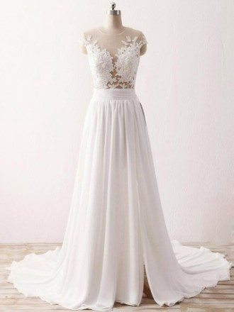 Cheap Slit Chiffon Wedding Dress For Older Brides With Delicate Appliques