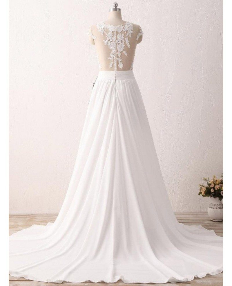 Wedding Gowns Mature Brides: Cheap Slit Chiffon Wedding Dress For Older Brides With