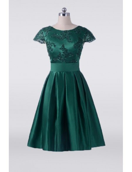 Vintage Emerald Green Short Mother Of The Bride Dress With Cap Sleeves