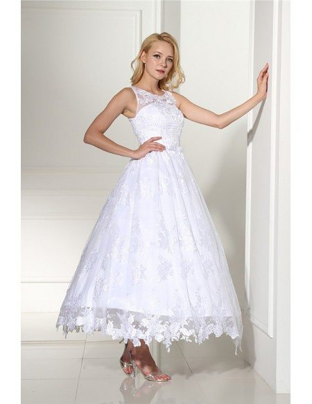 Vintage Ankle Length Ballgown Lace Wedding Dress Rustic Sleeveless