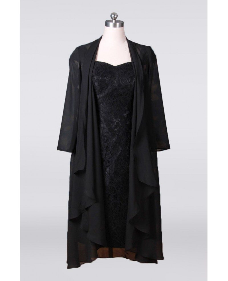 Tea Length Black Sheath Mother Of The Bride Dresses With