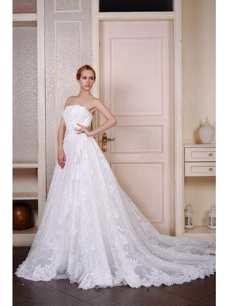Ball-Gown Strapless Cathedral Train Lace Tulle Wedding Dress With Beading