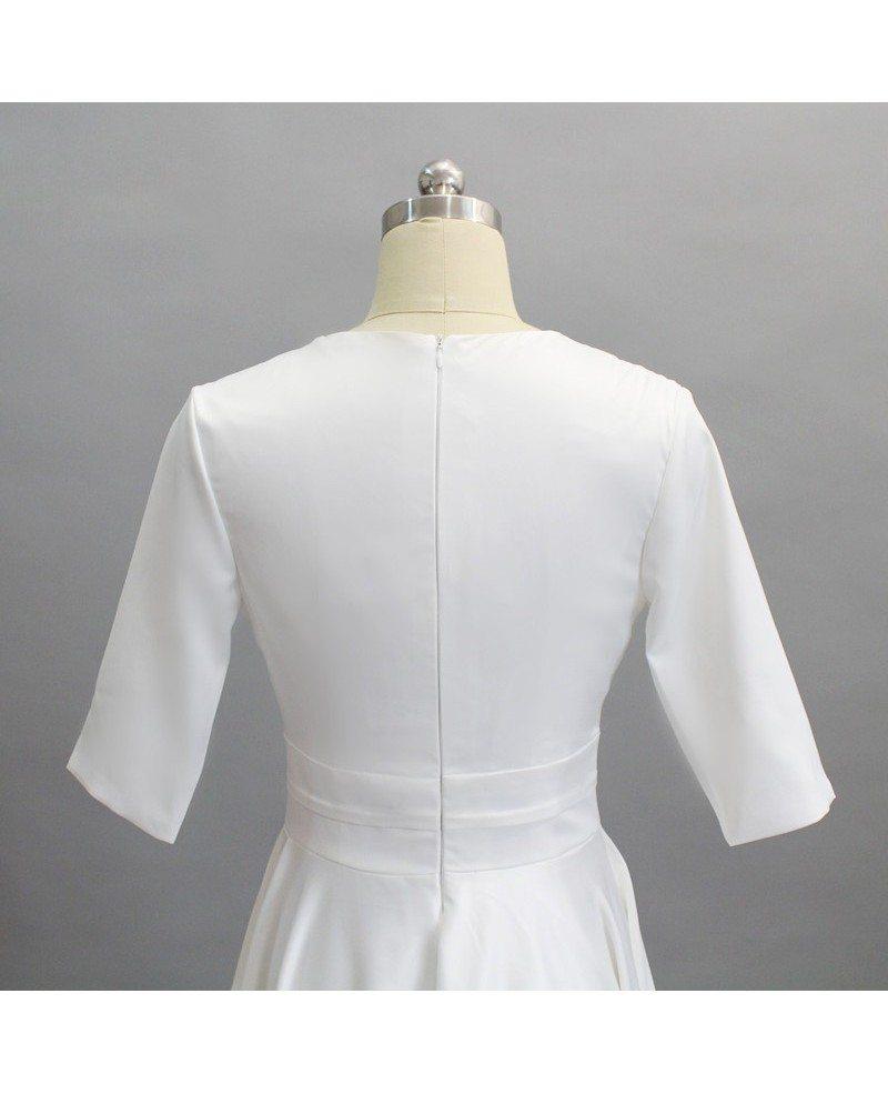 Simple V Neck Tea Length Wedding Dress With Half Sleeve