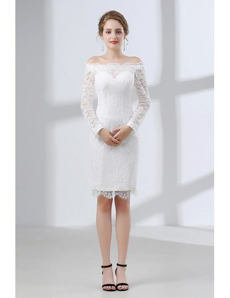 Fitted Lace Off Shoulder Short Wedding Dress Long Sleeves For Wedding Reception Party