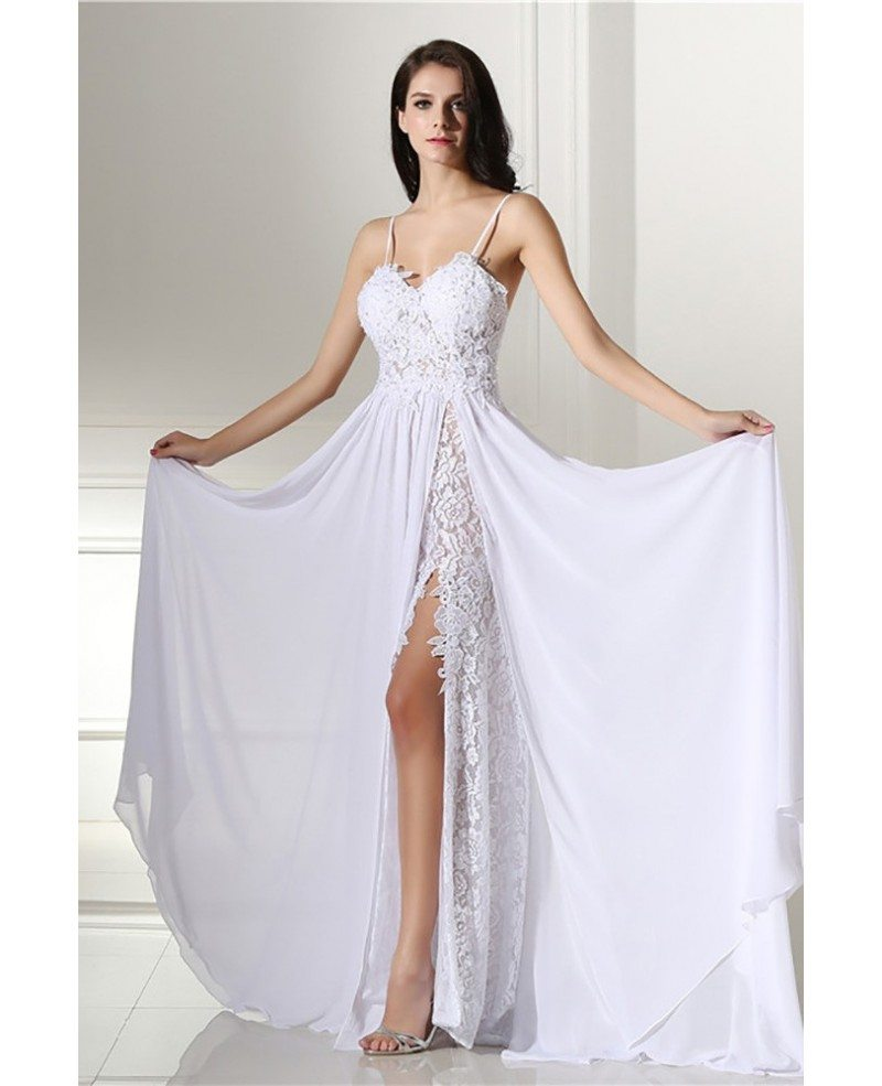 Backless Lace Beach Wedding Dress Boho With Slit Destination Weddings E7942 Gemgrace Com