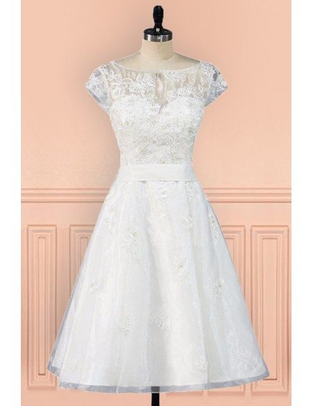 Vintage Knee Length Lace A Line Short Wedding Dress Modest Cap Sleeves E7902 Gemgracecom
