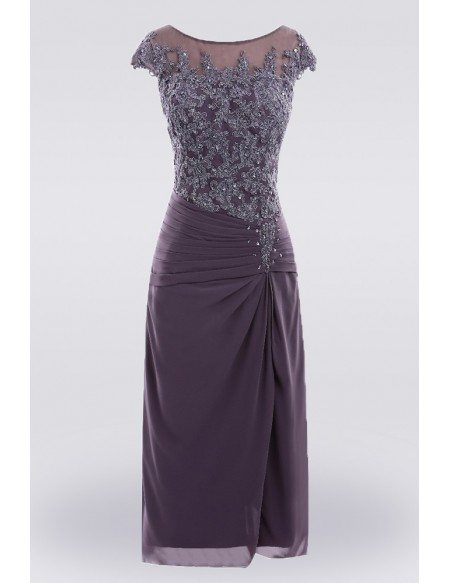 Purple Knee Length Lace Mother Of The Bride Dress With Sleeves Custom Size