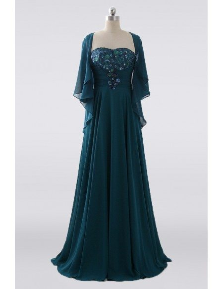 Pleated Empire Waist Chiffon Green Mother Of The Bride Dress With Jacket