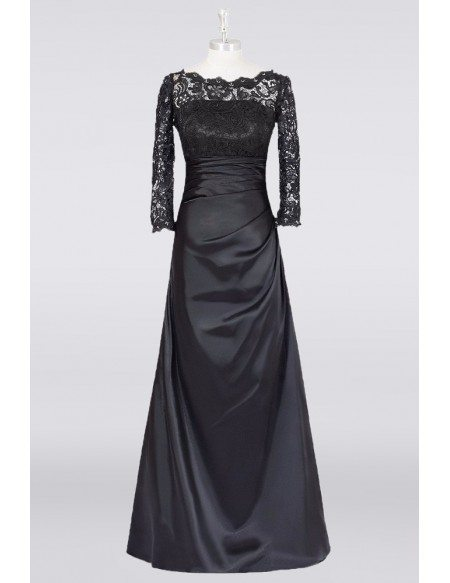 Long Black A Line Mother Of The Bride Dress Lace Long Sleeves Custom Size