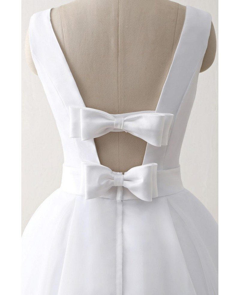Simple Wedding Dresses Open Back: Cheap Knee Length Simple Beach Wedding Dress With Open Bow