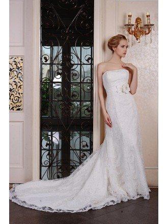 Sheath Strapless Chaple Train Lace Wedding Dress With Beading Flowers