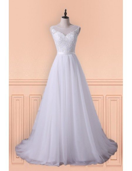 Princess A-line Tulle Long Wedding Dress With Sweep Train For Older Brides