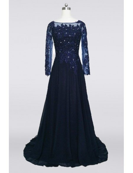 Modest Lace Beaded Formal Mother Of The Bride Dress With Long Sleeves Train