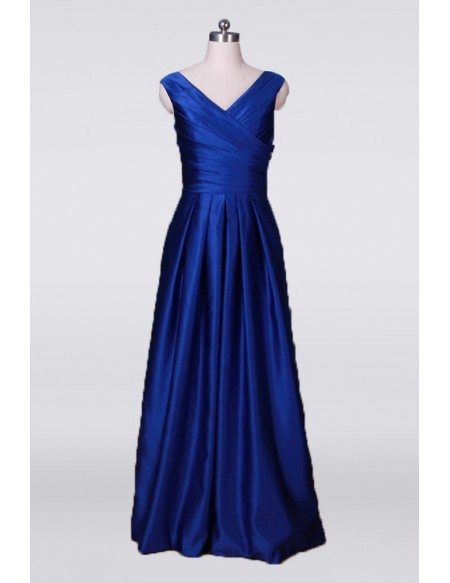 Classy Simple Long Mother Of The Bride Dress Pleated In Royal Blue 2018