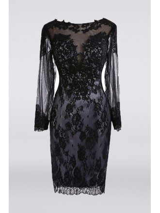 Classy Black Lace Short Mother Of The Bride Dress Long Sleeve For Petite Women