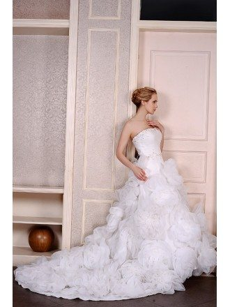 Ball-Gown Strapless Chapel Train Organza Wedding Dress With Beading Flowers