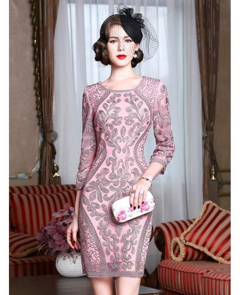 Classy Pink Embroidery Short Wedding Guest Dress 6/6 Sleeves Dress