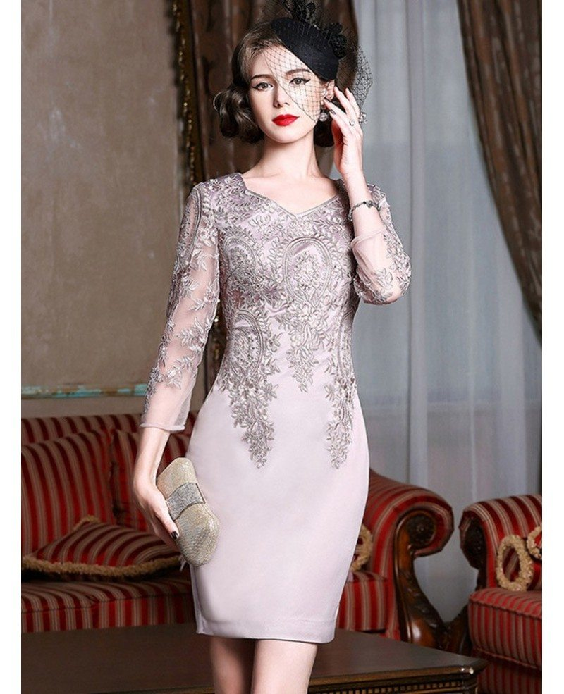 Long Sleeve Embroidered Cocktail Dress For Women Over 40,50 Wedding Guest  Dress ZL8002 , GemGrace.com
