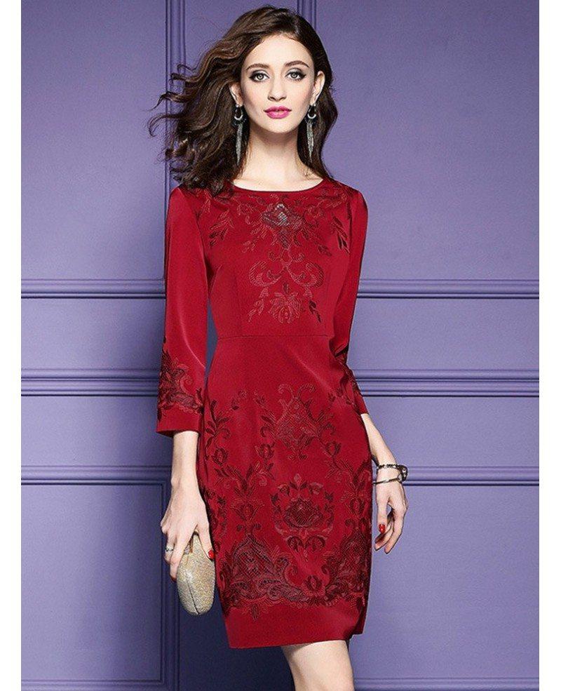 Burgundy Formal Embroidered Short Dress For Wedding Guest ...