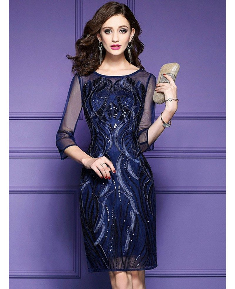 Classy Royal Blue Luxe Embroidered Cocktail Dress For Weddings