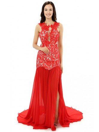 A-line Scoop Court-train Prom Dress