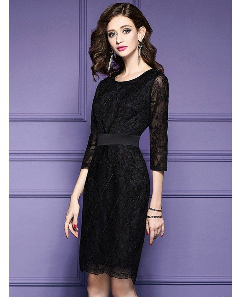 Black Tie Wedding Ideas: Luxe Black Lace Sleeve Short Wedding Guest Dress Black Tie