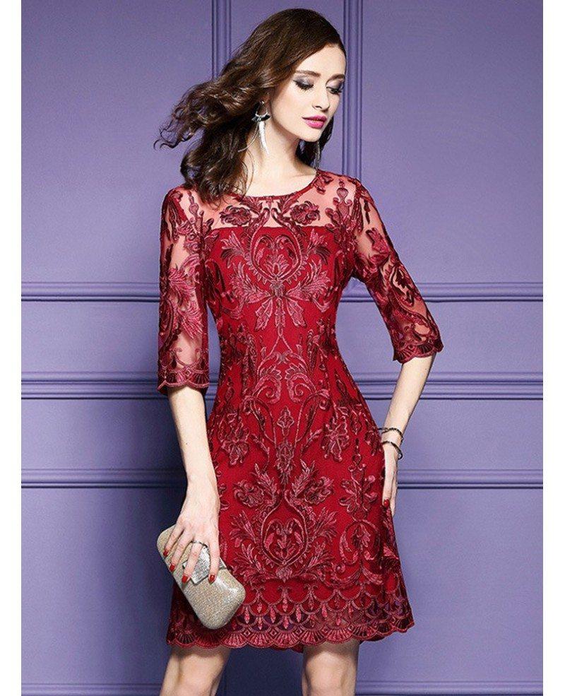 Over The Top Wedding Gowns: Elegant Burgundy Short Wedding Guest Dress For Over 40,50