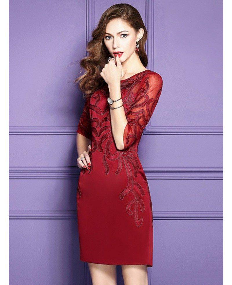 Burgundy Half Sleeve Short Dress For Women Over 40 For