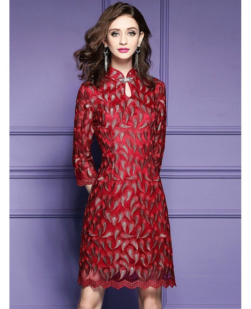 Retro High Neck Qipao Style Dress For Wedding Guest Over